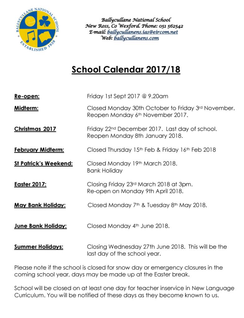 Calendar | Ballycullane National School